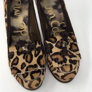 Sam Edelman Wesley Leopard Print Calf  Hair Wedge